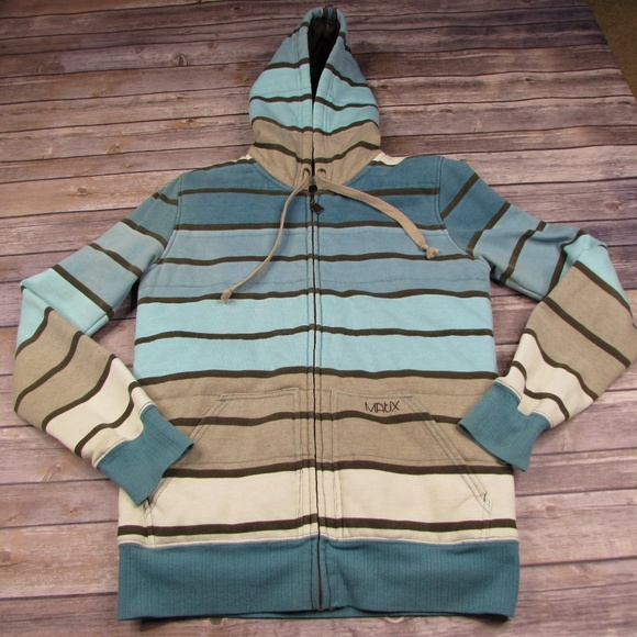 Matix Other - Matix Insulated Full Zip Striped Hoodie Jacket L